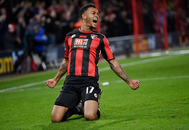 Joshua King celebrates after scoring the second goal for Bournemouth