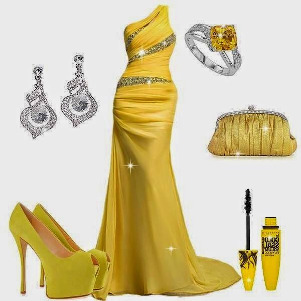2015 Elbise ve Abiye Modelleri, Uzun Abiye Sarı Renk Elbise