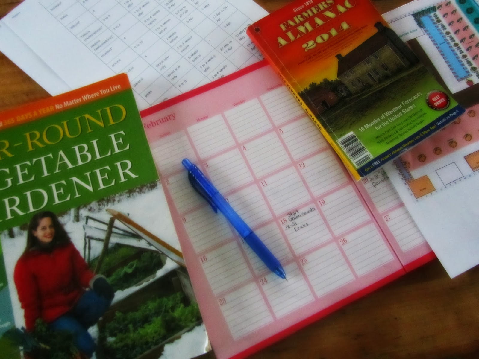 Books, day planner, and farmers Almanac to plan out our 2014 garden