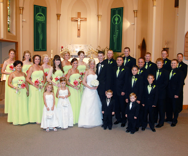 This is a photo of the beautiful wedding party in the church in Omaha.