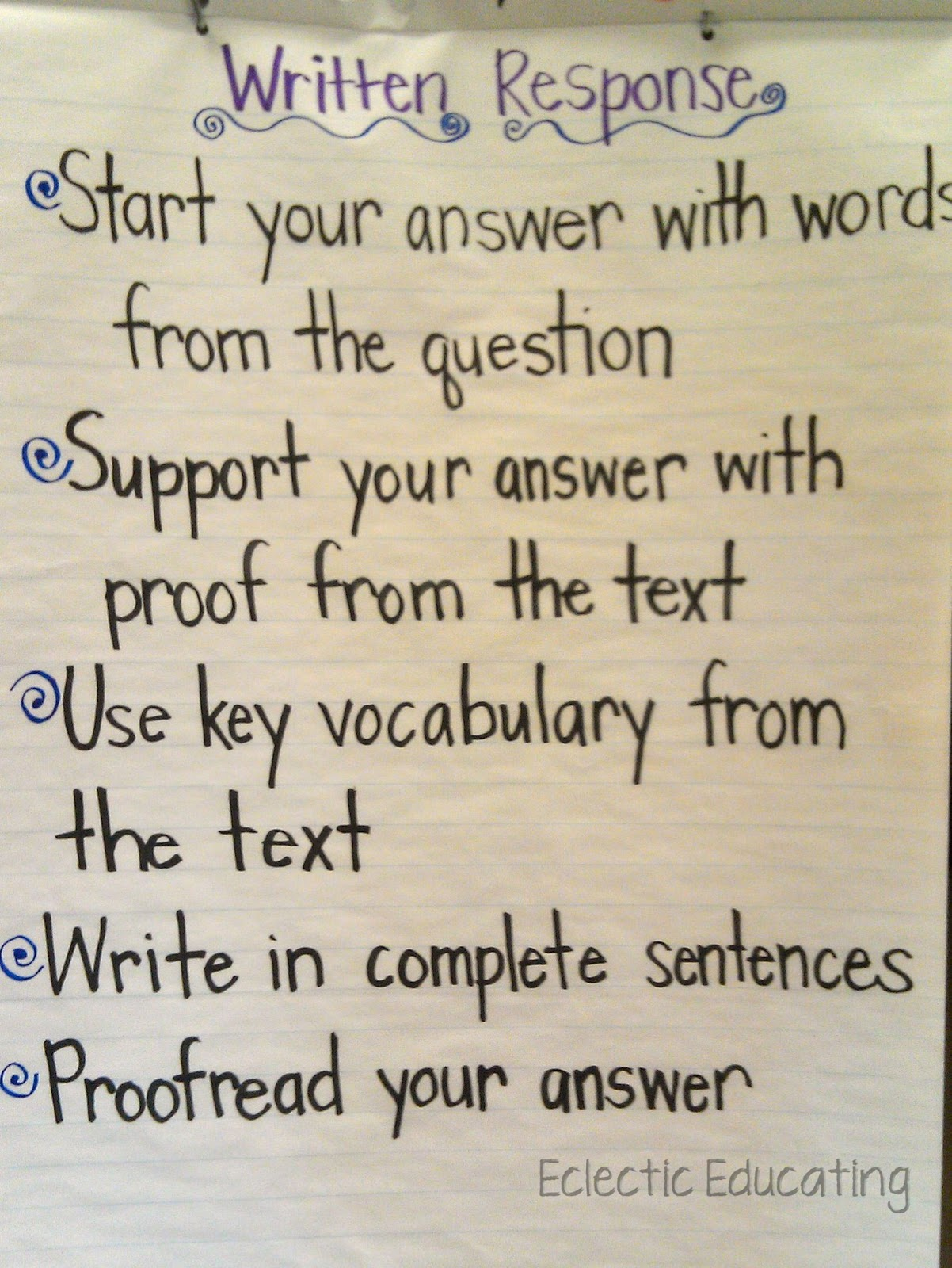 how to write a written response