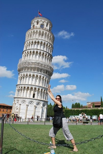 pushing Leaning Tower of Pisa