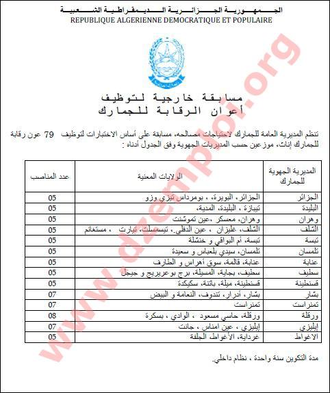 إعلان مسابقة توظيف أعوان الرقابة في صفوف الجمارك الجزائرية جانفي 2014 Agent+de+controle4.J
