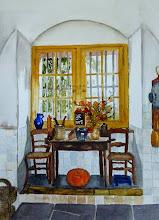 Keukenzitje in Kasteel Amerongen, nu met het hoge raam