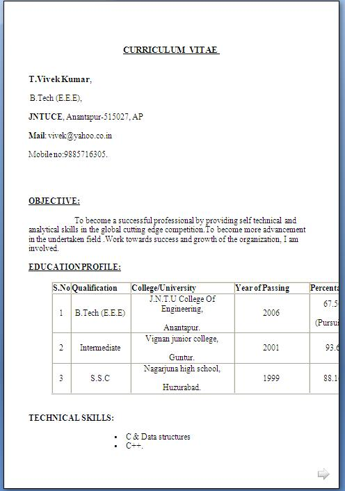 sample resume format download