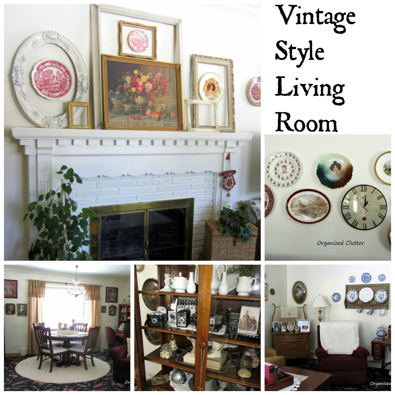 Vintage Living Room Tour www.organizedclutterqueen.blogspot.com
