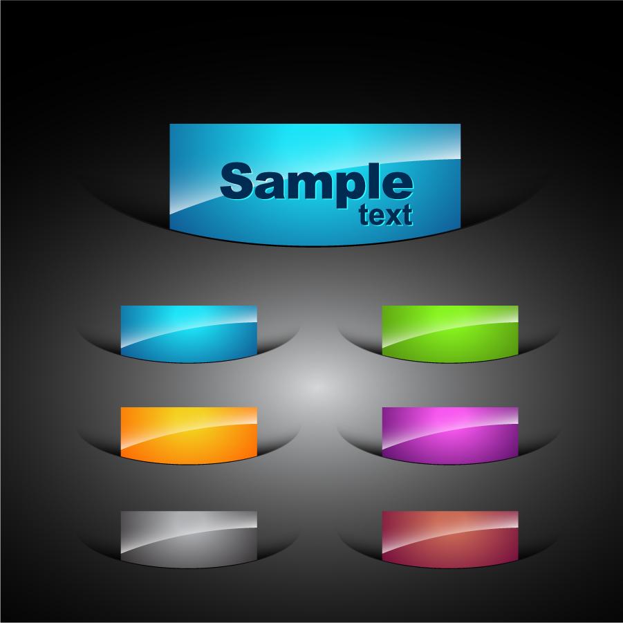 切り込みから出たテキスト ボタン Colored Elements for Web Designer イラスト素材