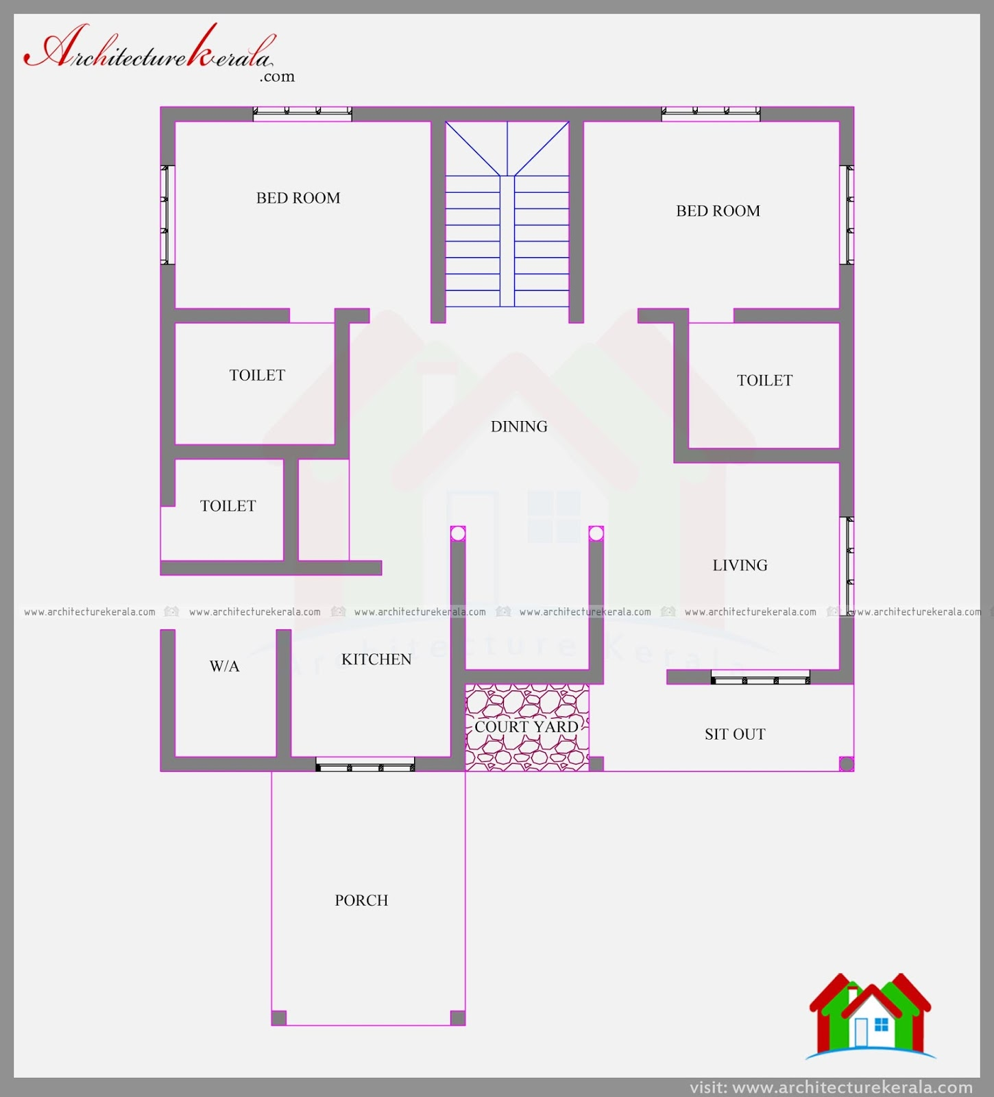 Four bedroom contemporary house plan and elevation for Single floor 4 bedroom house plans kerala