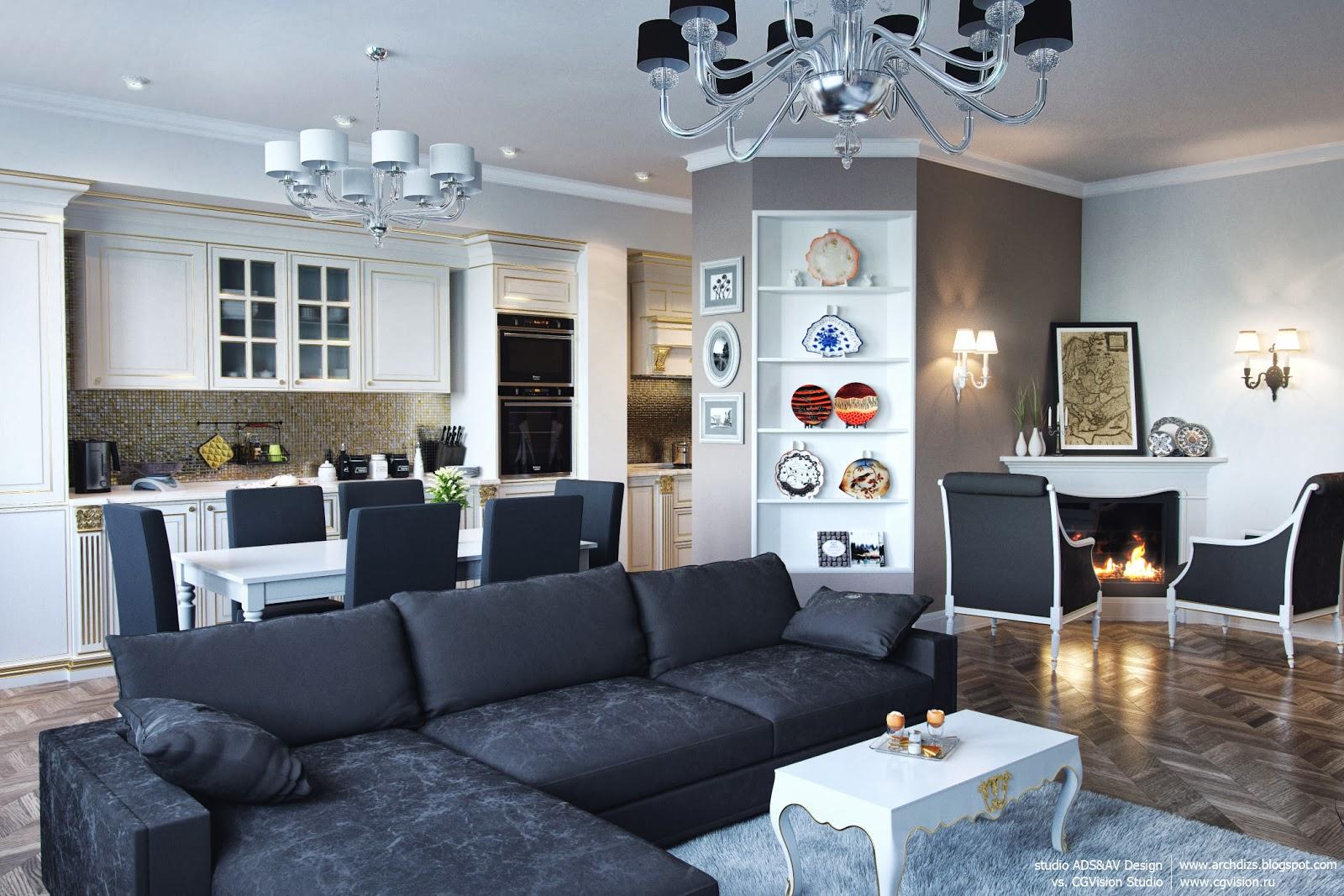 Дизайн кухни студии с камином