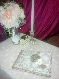 Guest book for vintage wedding reception