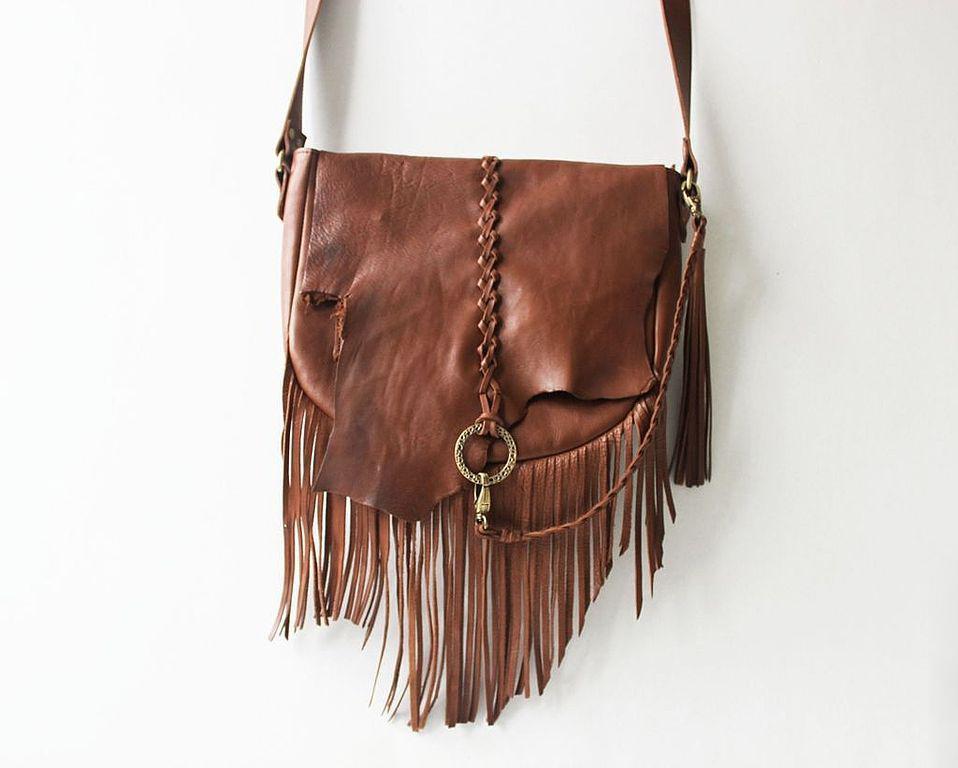 Кожаные сумки с бахромой фото