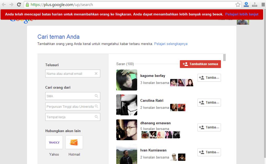 Cara Cepat Memperbanyak Teman Google Plus 1 Klik 100 Teman