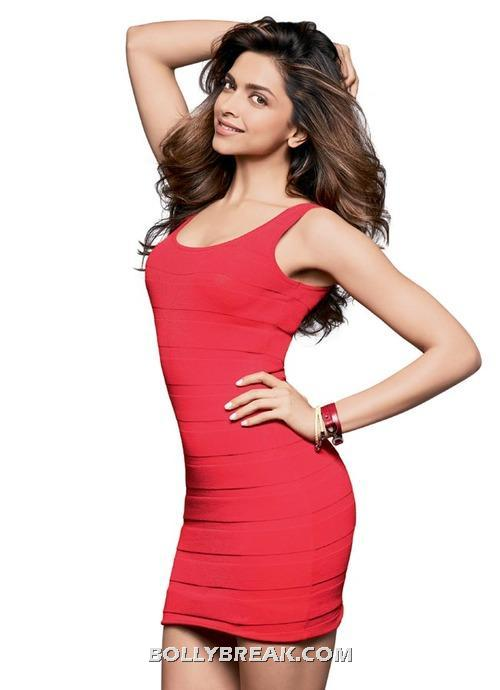Deepika padukone red tight dress - (2) -  Deepika Padukone Women's Health July 2012