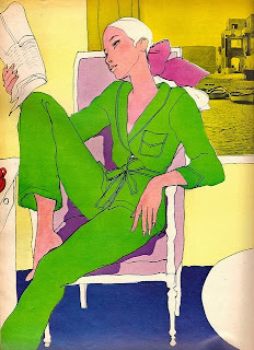 fashion illustration of a girl reading in a chair by antonio lopez for elle magazine