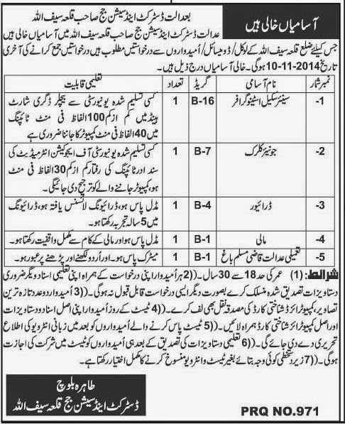 Junior Clerk, Stenographer and Driver Jobs in District & Sessions Court, Qila Saifullah
