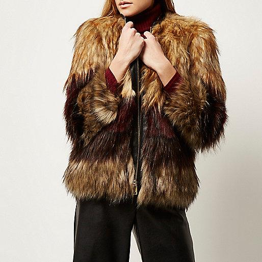 river island brown fur coat, short stripe faux fur coat, faux fur stripe coat,