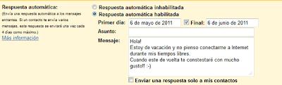 Gmail permite enviar respuestas automáticas