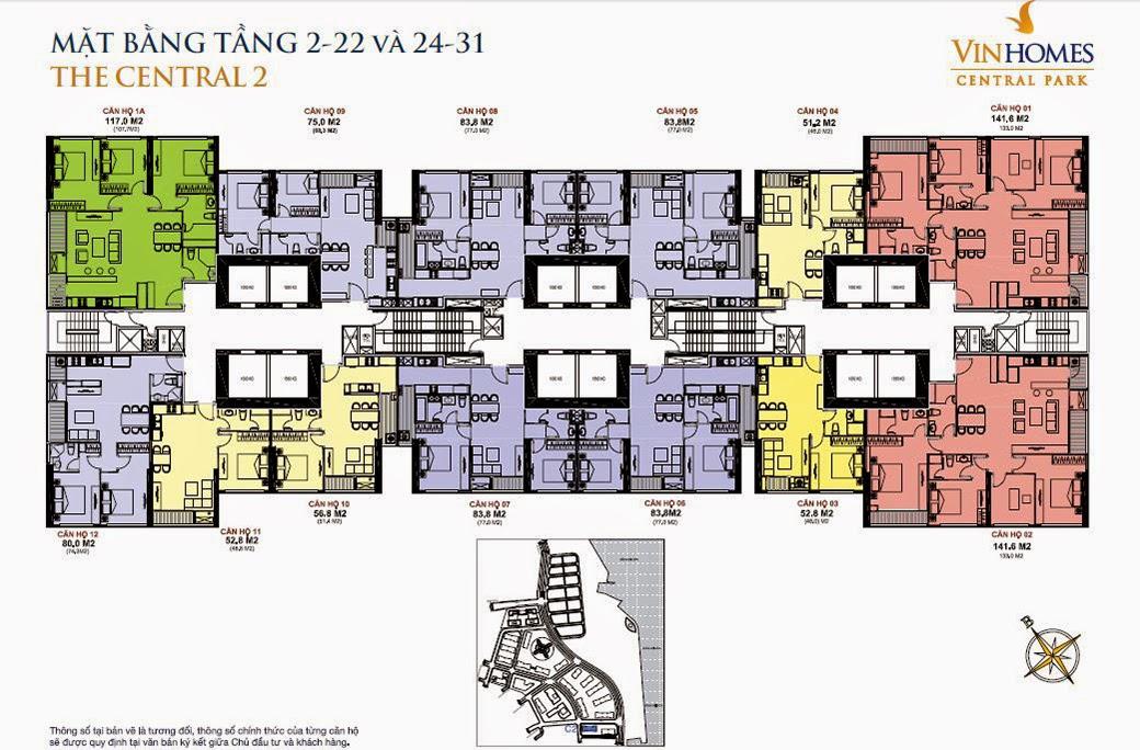 Căn hộ Vinhomes Central Park 2 - mặt bằng tầng 2 - 22 và 24 - 31