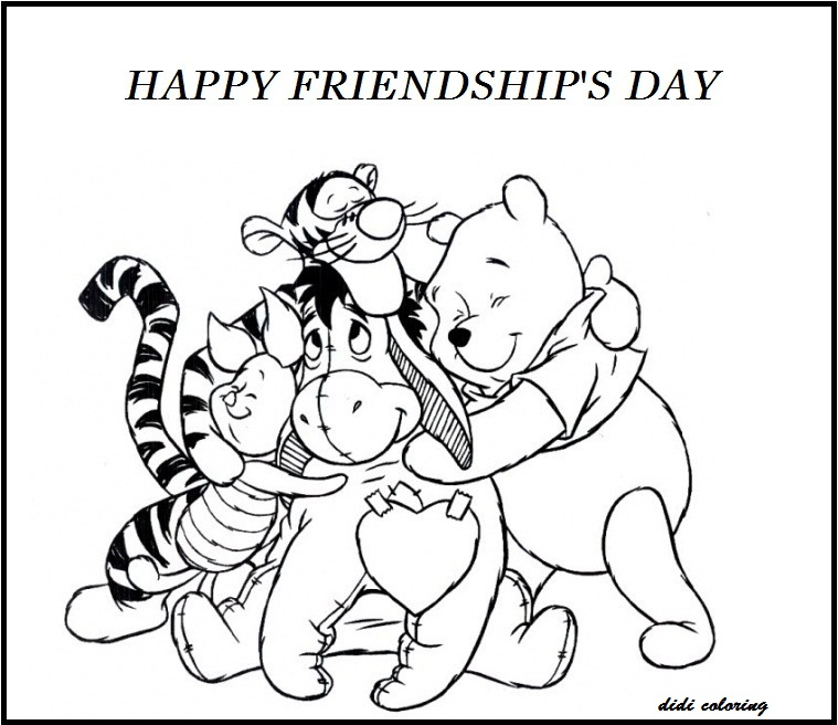 printable happy friendship day winnie the pooh and friends coloring page - Friendship Coloring Pages