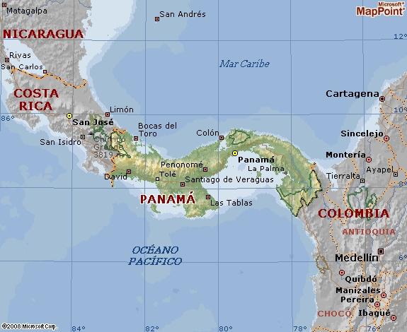 Mapa geográfico de panamá