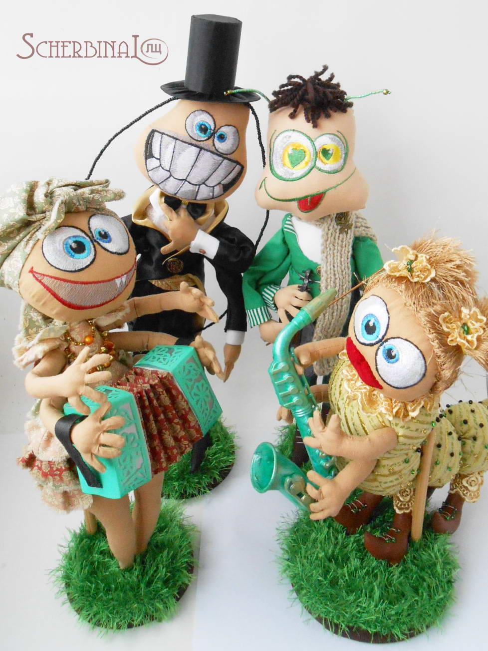 интерьерные текстильные игрушки таракан, кузнечик, блоха, гусеницаручная работа