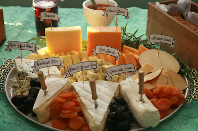 DIY cheese plate with cute little banners!