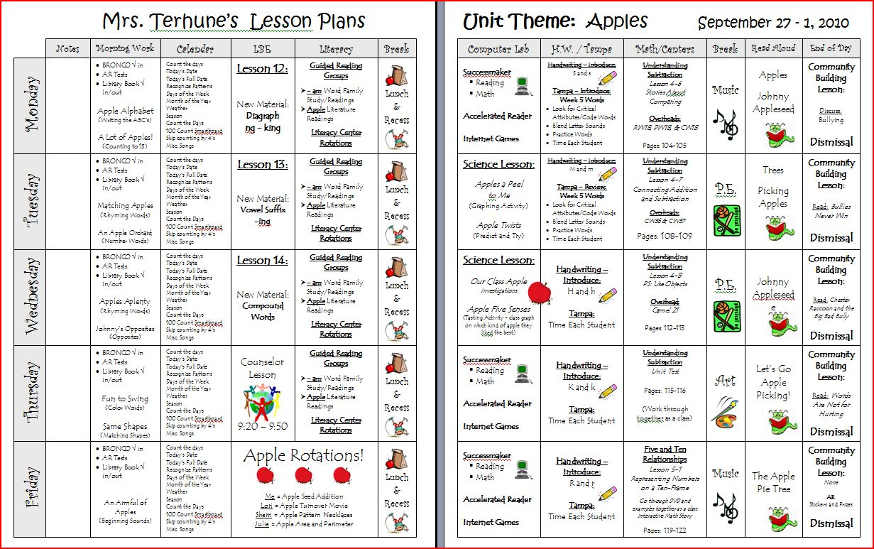 lesson plans printable