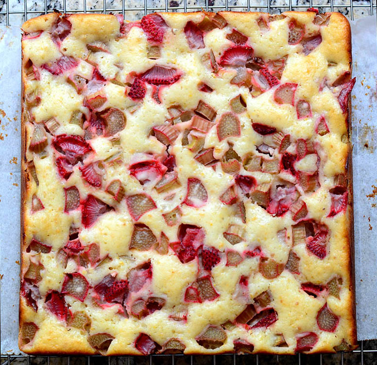 Strawberry Rhubarb Cake with Orange Zest