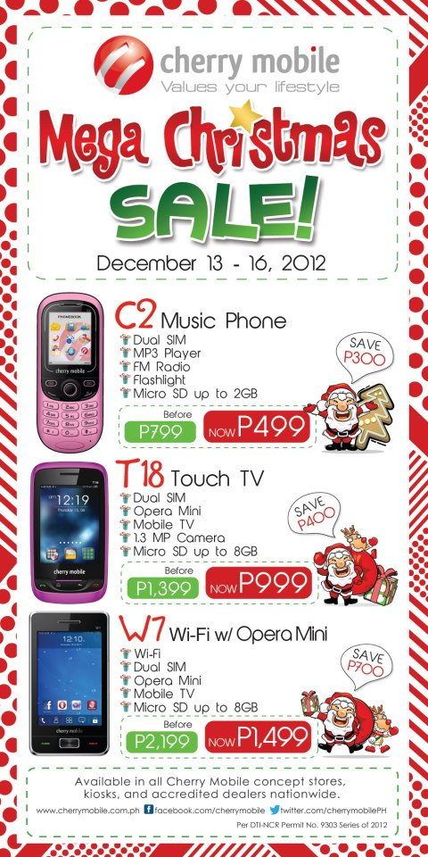 Cherry Mobile W7, C2 Music Phone and T18 Touch TV Mega Christmas SALE!