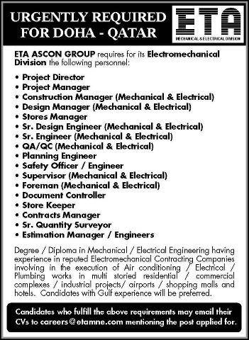 Urgently Required For Eta Ascon Group Doha Qatar Gulf