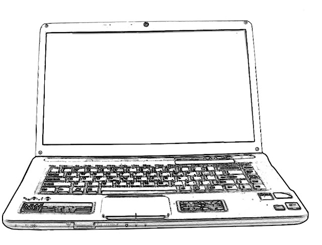 black and white laptop sketch against a white background