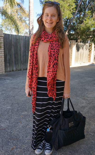 winter wear converse, maxi skirt, neon leopard print scarf, peach knit jumper