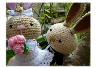 Amigurumi crochet wedding bunny doll pattern gift