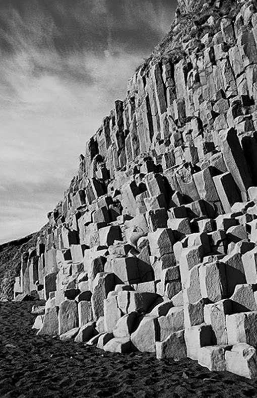 Columnar basalt on iceland coast