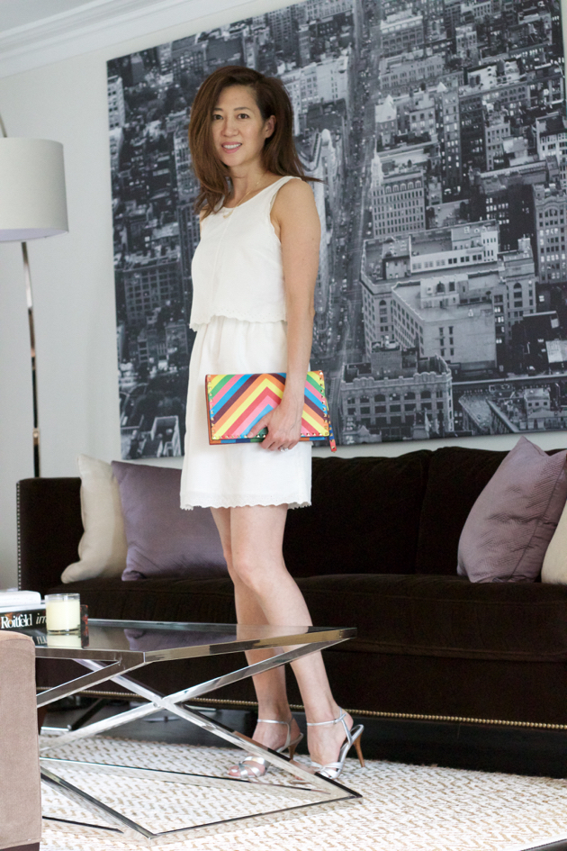OOTD, white dress, Valentino clutch