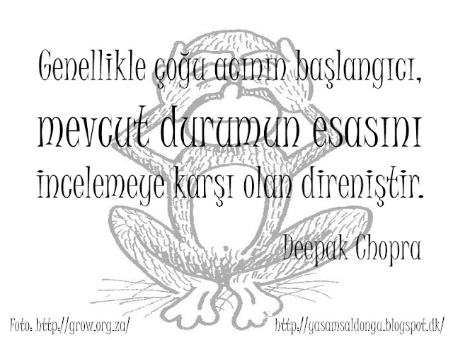 Genellikle çoğu acının başlangıcı, mevcut durumun esasını incelemeye karşı olan direniştir Deepak Chopra Türkçe Çeviri The beginning of suffering is often a refusal to look at the situation as it really is
