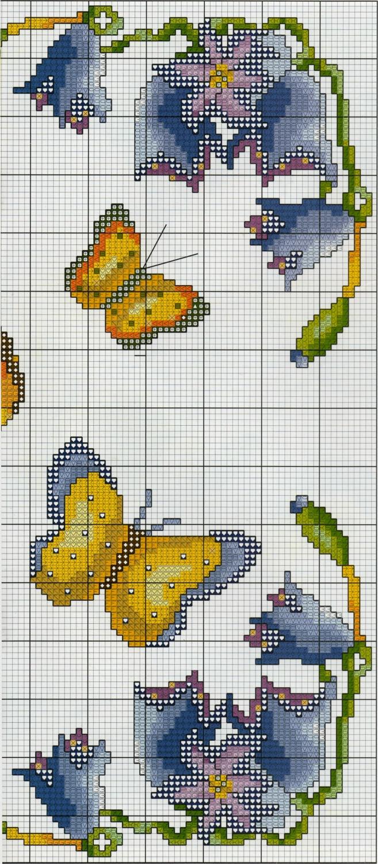 Professione donna schema punto croce un quadretto con le for Punto croce fiori e farfalle