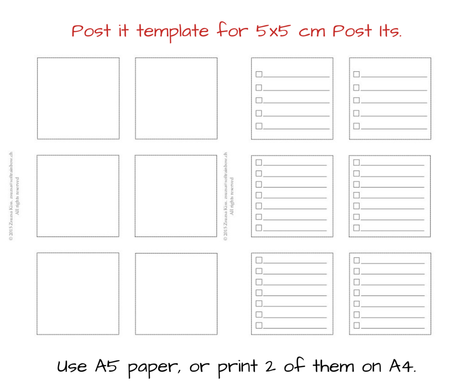New daily planner insert and free post it template
