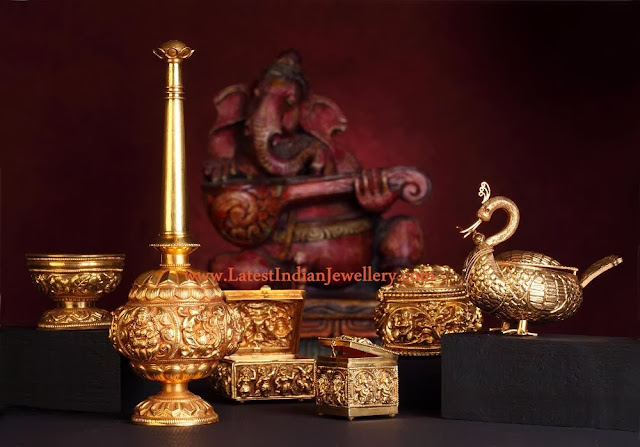 Gold Pooja Room Accessories