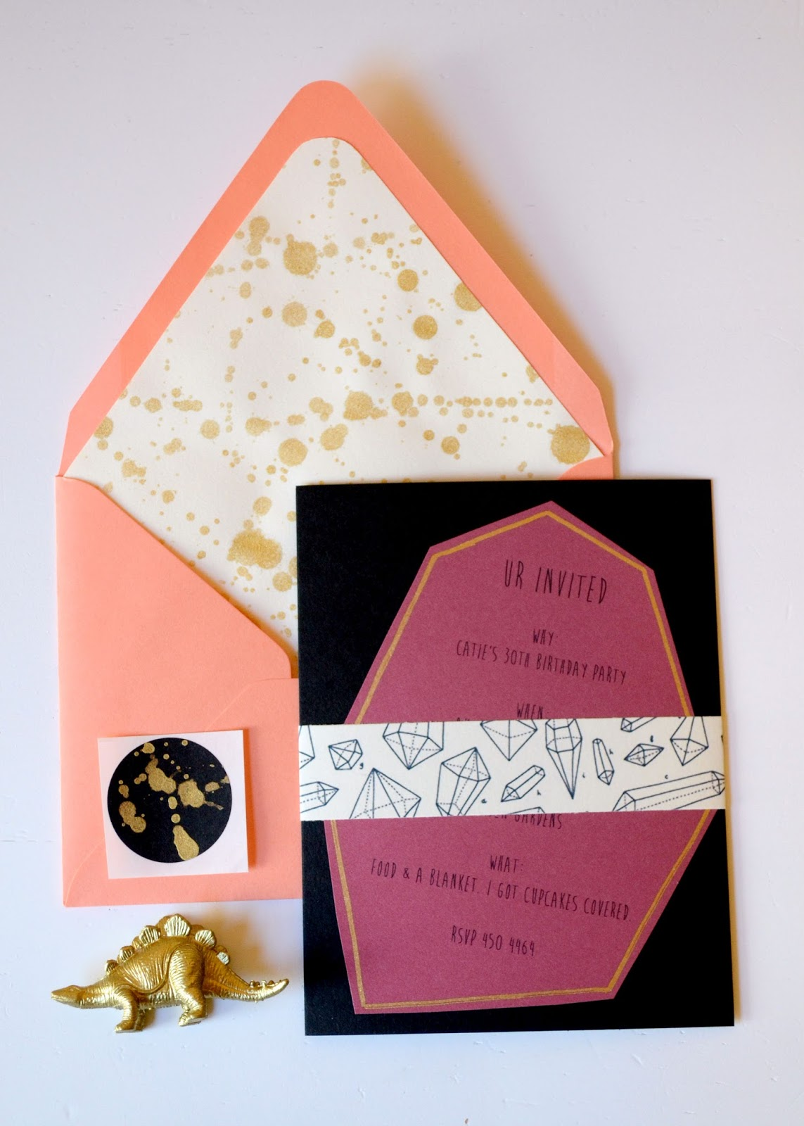 gold, coral, envelope, invitation, gems, crystals, dinosaur