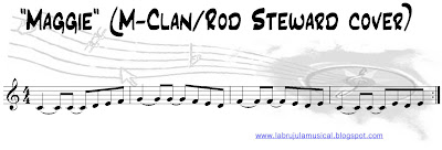 Partitura para flauta dulce Maggie de Rod Steward. La Brújula Musical.Recorder sheet music