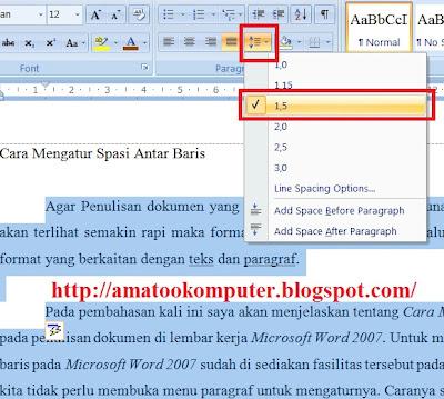 Cara Mengatur Spasi Antar Baris di Microsoft Word 2007, Baris, Spasi, Microsoft Word 2007, AmatooKomputer