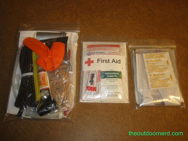 Car survival kit, sub-kits: back