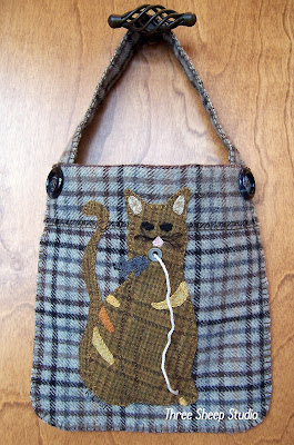 Wool Applique 'Kitty' String Bag by Rose Clay at ThreeSheepStudio.com