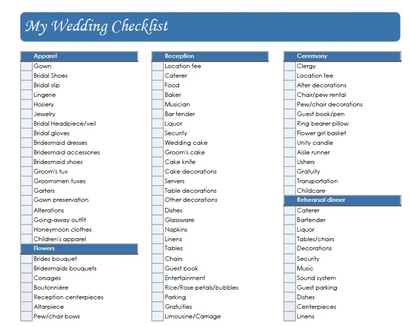 Small Wedding Ideas: Wedding Checklist
