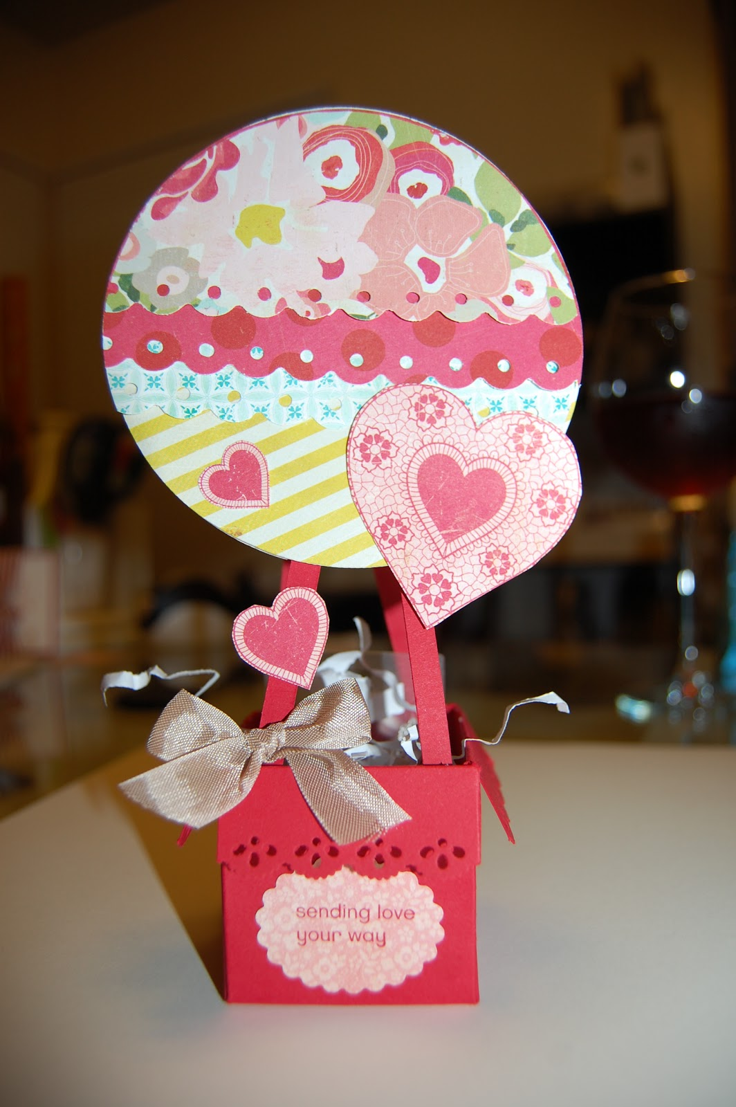 Burlap Kisses: Valentine\'s Day Project-Hot Air Balloon Gift Box