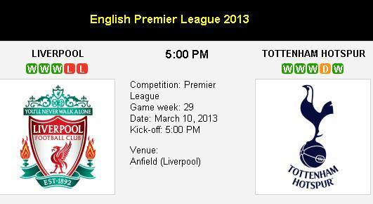 Jadwal Liverpool vs Tottenham Hotspur 2013