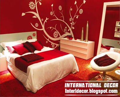 romantic red bedroom design, red bedroom design with wall drawings