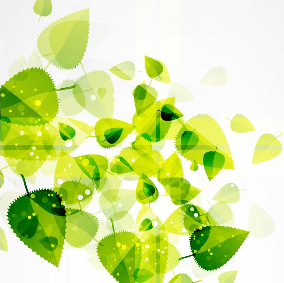 淡い緑の葉を重ねた背景 Abstract Green Leaves Background イラスト素材