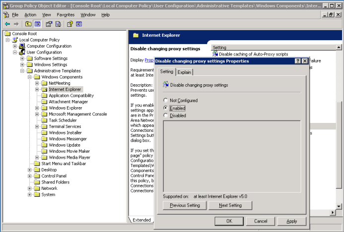 Knowledge of the Day: How to Force Proxy Settings Via Group Policy
